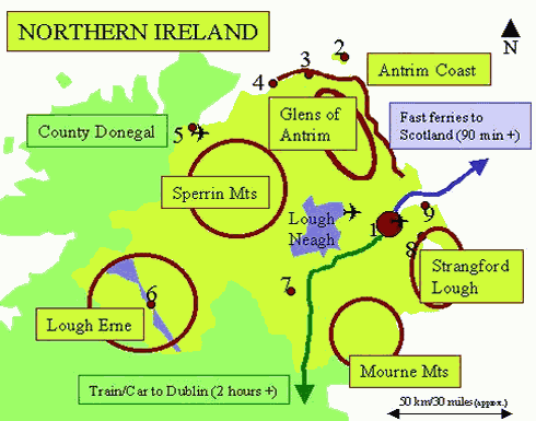 Map Of Ireland With Tourist Sites.Alexander Seacovelandscape N Ireland Tourist Info